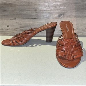 Chadwick's Brown Leather Sandal Heels